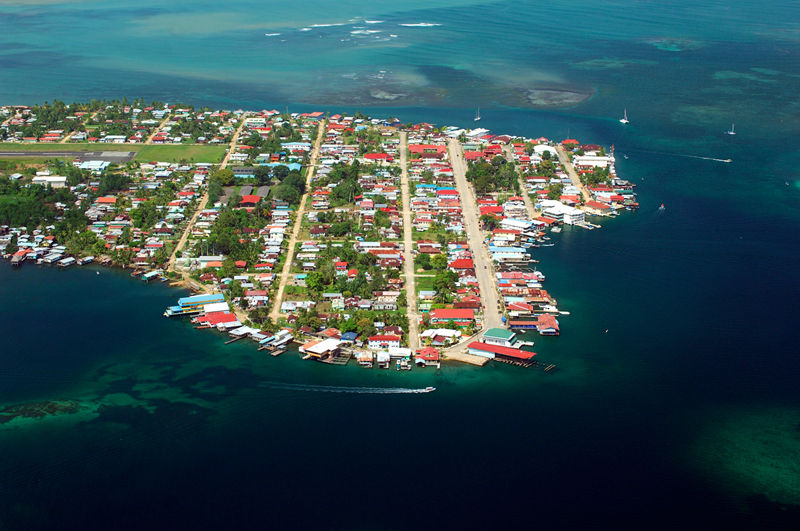 Aerial photo of Bocas Town, from BocasDelToro.travel